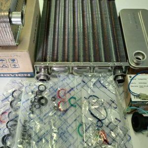 Теплообменники ОВ и ГВС, фитинги, датчики температуры, кольца